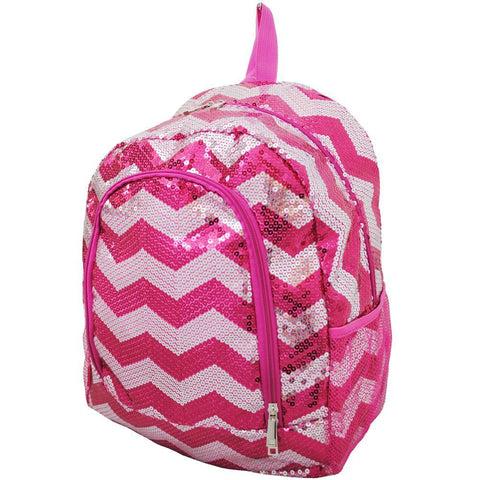 Hot Pink Sequins Chevron NGIL Canvas School Backpack