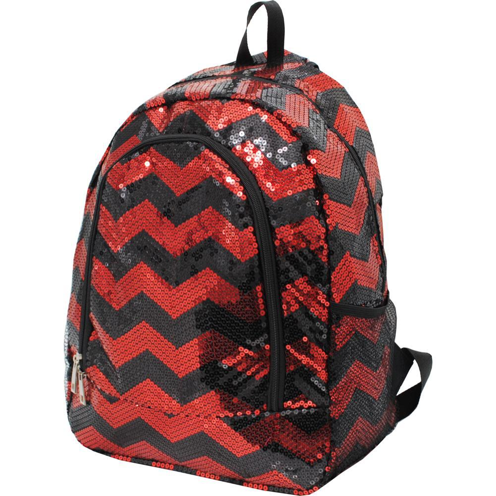Red/Black Sequins Chevron NGIL Canvas School Backpack