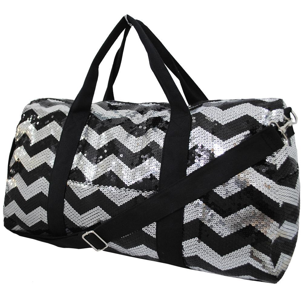 sequin duffle bag for women, cheer duffle for girls personalized, dance bag essentials, dance personalized items, cheer competition bag, cheer gifts for girls, monogram duffle, personalized duffle bag for girls, black sequin bag, black and silver chevron bag.
