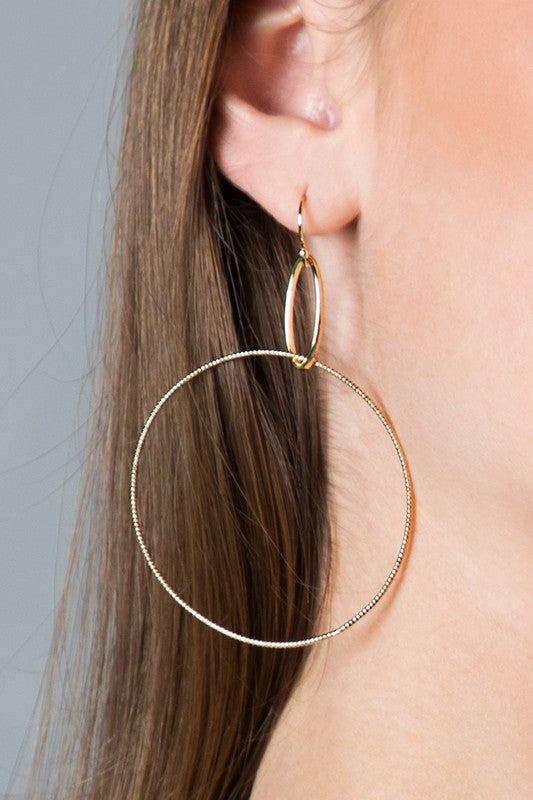 Brass Ring Drop Hoop
