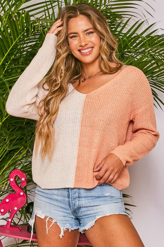 Orange Cream Contrast Sweater