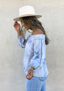 Terra Off Shoulder Tie Dye Top in Ocean Blue