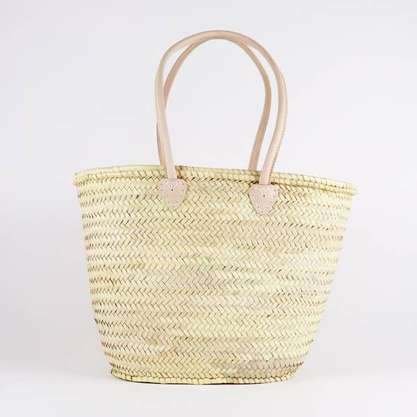 Straw French Basket //  Natural Long Handle