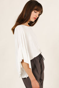 Ruffle Sleeve Tee in White