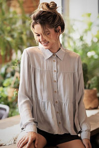 Sadie Button Down in Silver