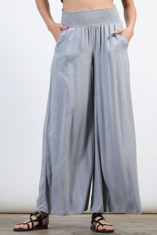 Wide Leg Trouser Pant in Cool Blue