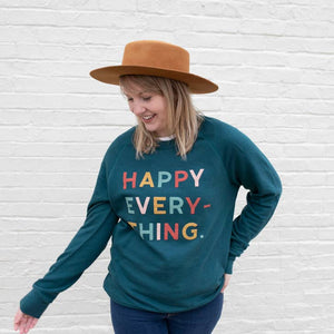 Happy Everything Pull Over Sweatshirt || Soft Teal