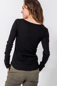 Henley Scoop Tee in Black