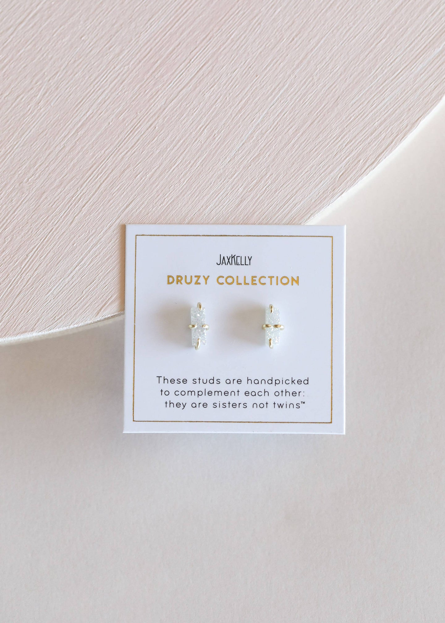 White Druzy Bar Druzy Stud || 18k gold plate || Jax Kelly