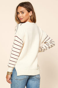 Kenleigh Striped Pull Over Sweater in Cream + Wine