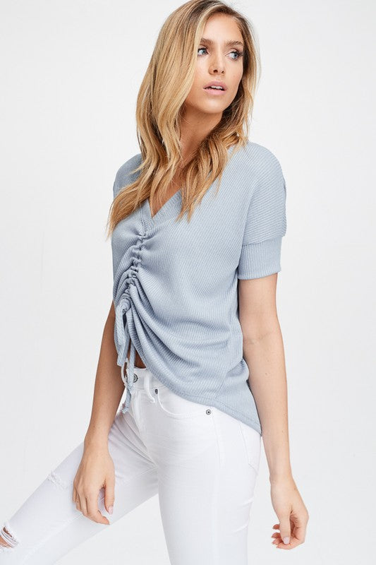 Athena Ribbed Knit Top in Iced Blue