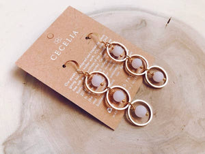 Triple Hoop Earring || Rose Agate