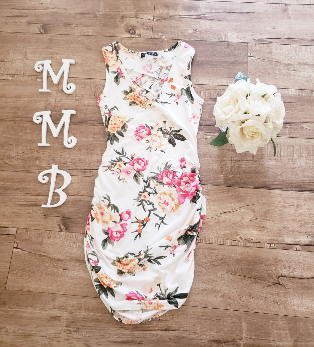 White floral crisscross front dress.