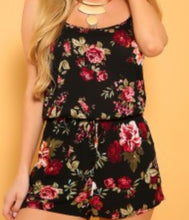 Sexy Black Floral Printed Romper with adjustable straps