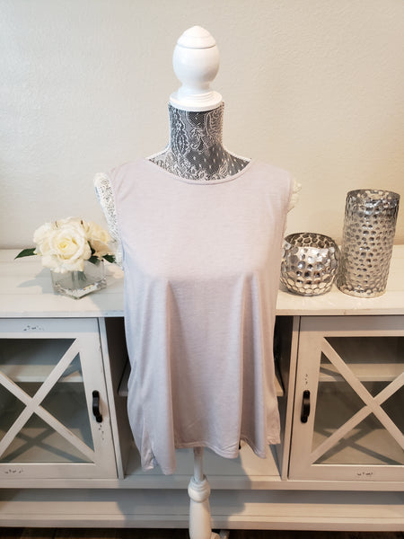 Grey sleeveless blouse with peekaboo back