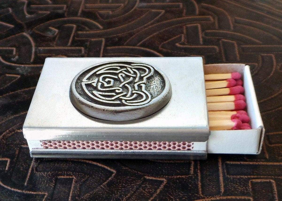 Celtic Bear Match Box in Stainless Steel (Wholesale)