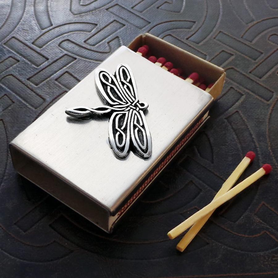 Celtic Knot Works Celtic Knot Dragonfly Match Box in Stainless Steel (Wholesale)