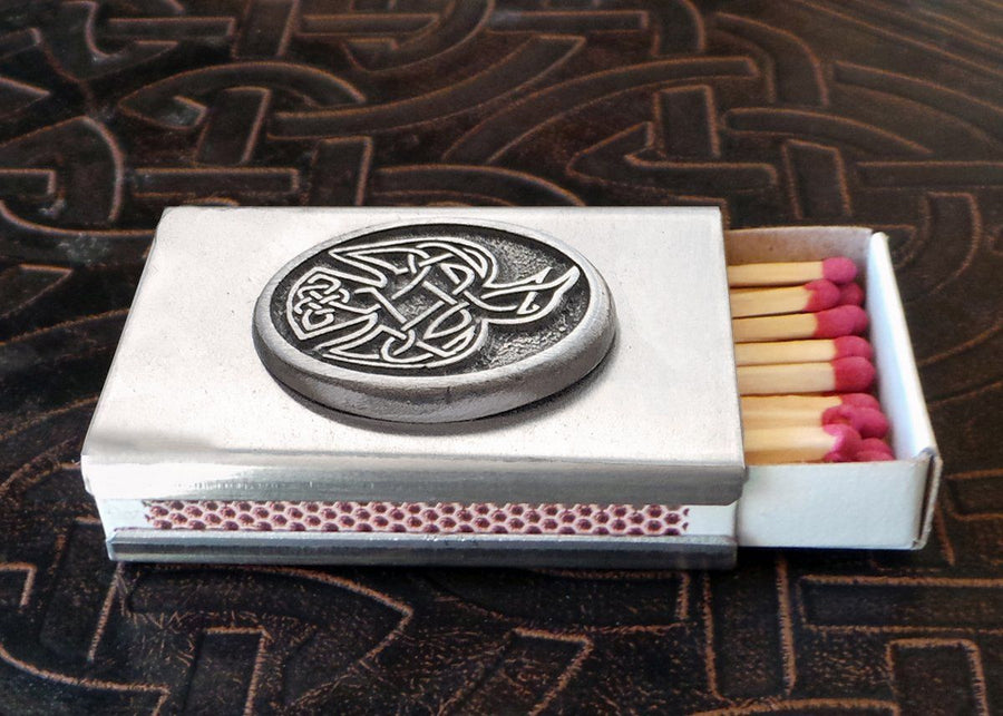 Celtic Raven Match Box in Stainless Steel (Wholesale)