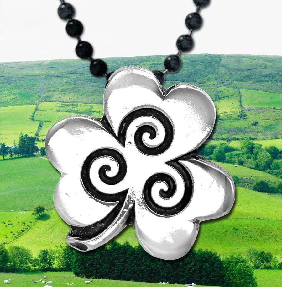 Shamrock  Pendant with Spirals – Celtic Traditions