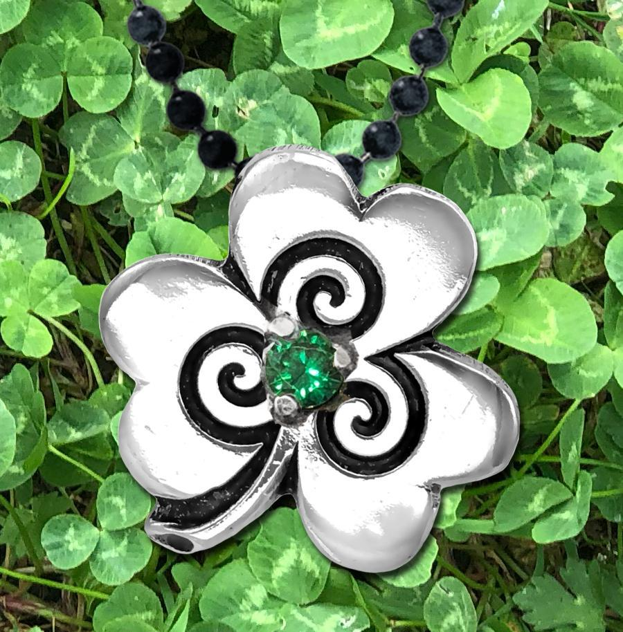 Celtic Knot Works Jewelry Shamrock  Pendant with Spirals Emerald Green CZ – Celtic Traditions