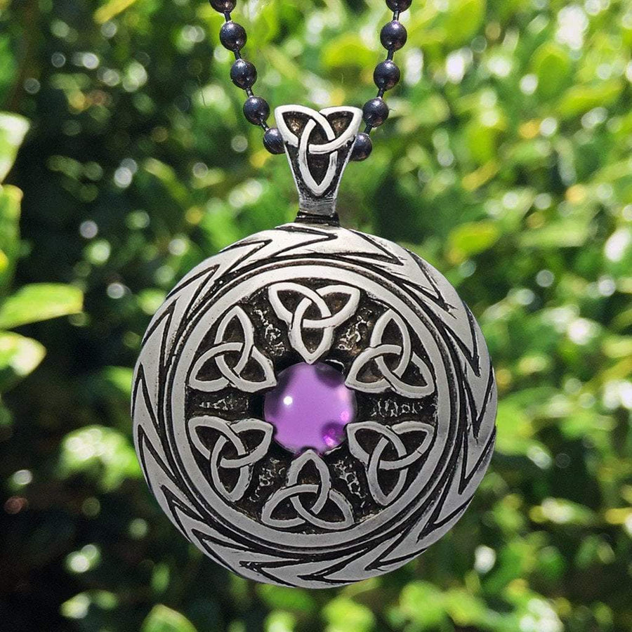 Celtic Knot Works Jewelry Triquetra Pendant with Amethyst – Celtic Traditions (Wholesale)