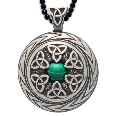 Celtic Knot Works Jewelry Triquetra Pendant with Malachite – Celtic Traditions (Wholesale)