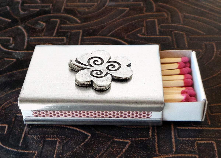 Lucky Shamrock Match Box in Stainless Steel (Wholesale)