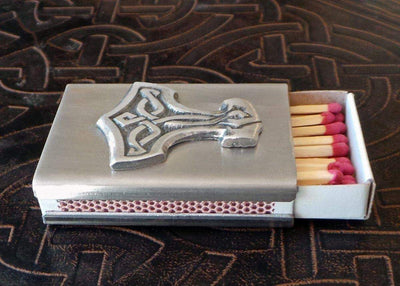 Celtic Knot Works Thor's Hammer Match Box in Stainless Steel (Wholesale)