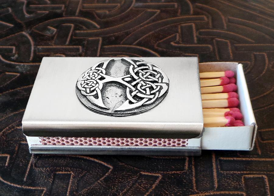 Celtic Knot Works Tree of Life Match Box in Stainless Steel (Wholesale)