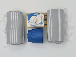 Privy Bathroom Set with Turkish hand towel, handmade bathroom cup, and handmade vegan soap. Perfect for housewarming, dorm gift, college gift, or guest bathroom