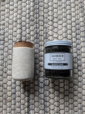 Spice canister and black lava salt gift set