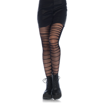 Double Layer Shredded Spandex Fishnet Tights
