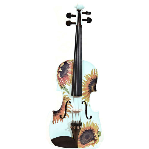 White Violin With Sunflower Design