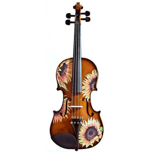 Natural Wood Violin With Sunflower Design