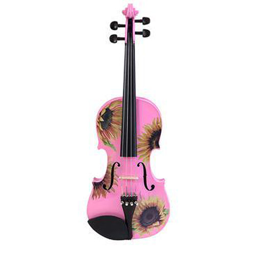 Pink Violin With Sunflower Design