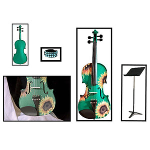 Emerald Green Violin With Sunflower Design