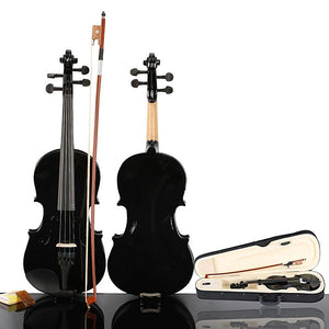 Black Acoustic Student Violin with Case Rosin Bow