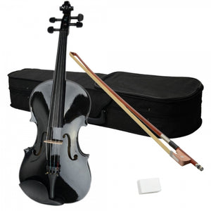 Black Acoustic Adult Violin with Case Rosin Bow