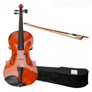 Natural Color Acoustic Adult Violin with Case Rosin Bow