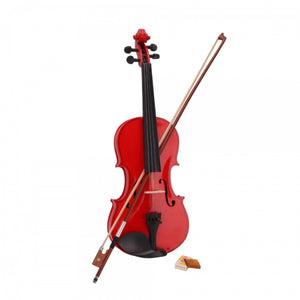 Red Acoustic Student Violin with Case Rosin Bow