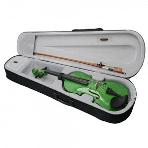 Green Acoustic Adult Violin with Case Rosin Bow