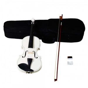 White Acoustic Student Violin with Case Rosin Bow