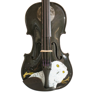Black Glitter Violin With Mystic Owl Midnight Design