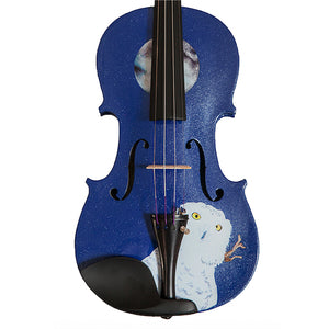 Blue Glitter Violin With Mystic Owl Design