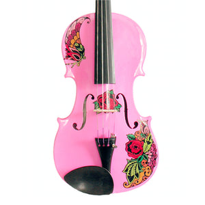 Pink Glitter Violin With Butterfly Rose Tattoo