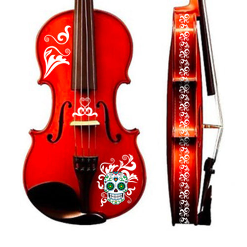 Natural Wood Finish Mariachi Sugar Skull Violin