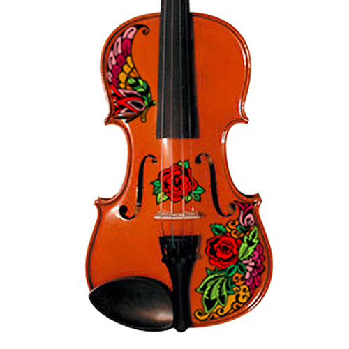 Natural Wood Violin With Butterfly Rose Tattoo