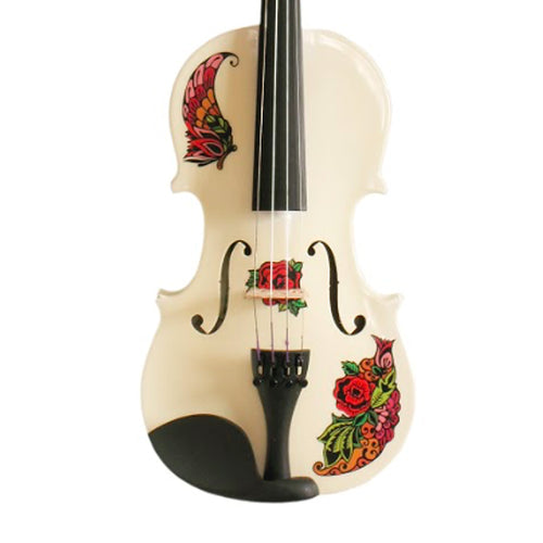 White Glitter Violin With Butterfly Rose Tattoo