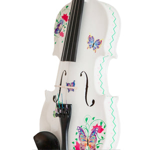 White Glitter Butterfly Dream Violin with Greca Pattern