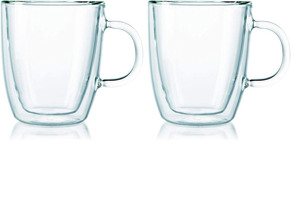 Bodum Bistro Coffee Mug, 10 Ounce (2-Pack), Clear